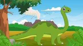 Gullig lång halsdinosaurie med bakgrund Royaltyfria Foton