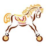 Gullig lockig häst på hjul med en färgrik sadel vektor illustrationer