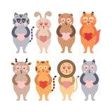 Gullig lycklig djursamling royaltyfri bild