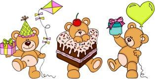 Gullig lycklig födelsedag för tre nallebjörnar royaltyfri illustrationer