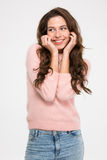 gullig lycklig kvinna Arkivfoto