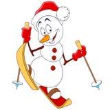 Gullig lycklig snögubbe Arkivbild