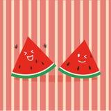 Gullig lycklig vattenmelon Arkivbild