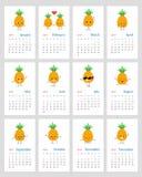 Gullig månatlig ananaskalender 2019 stock illustrationer