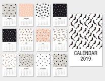Gullig månatlig kalender 2019 vektor illustrationer