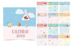 Gullig månatlig kalender 2019 med björnen, flicka, kanin, apa, får, st stock illustrationer