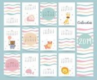 Gullig månatlig kalender 2019 med björnen, katt, giraff, flodhäst, li royaltyfri illustrationer