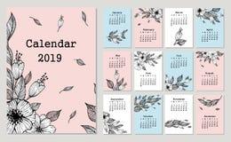 Gullig månatlig kalender 2019 med blommor och bladet royaltyfri illustrationer
