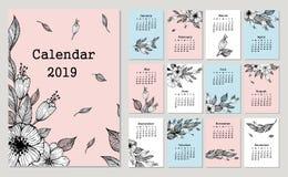 Gullig månatlig kalender 2019 med blommor och bladet stock illustrationer