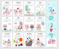 Gullig månatlig kalender 2019 med svinet, kaka, grillfest, exponeringsglas, hjärta, royaltyfri illustrationer