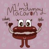 Gullig Macaron maskot royaltyfri illustrationer