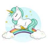 Gullig magisk enhörning liten ponny Royaltyfri Bild