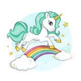 Gullig magisk enhörning liten ponny Arkivfoton