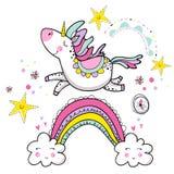 Gullig magisk enhörning som går på regnbågen, klotterbarnkammarekonst royaltyfri illustrationer