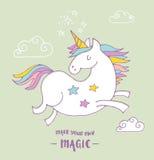 Gullig magisk unicon- och regnbågeaffisch, kort royaltyfri illustrationer
