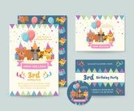 Gullig mall för uppsättning för kort för inbjudan för lycklig födelsedag för tema för löst djur och reklambladillustration royaltyfri illustrationer