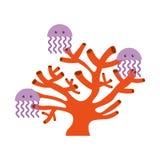 Gullig manetsealifesymbol Arkivbild