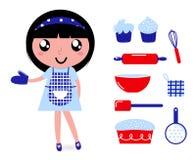 Gullig matlagningflicka med tillbehör royaltyfri illustrationer