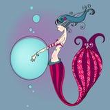 gullig mermaid Royaltyfri Bild