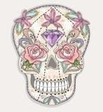 Gullig mexikansk skalle Färgrik skalle med blomman, ädelsten vektor illustrationer