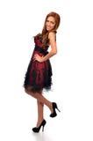 Gullig mitt - östlig kvinna i formell klänning Royaltyfri Foto