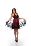 Gullig mitt - östlig kvinna i formell klänning Fotografering för Bildbyråer