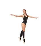 Gullig modern balettdansör som isoleras på vit Arkivfoton