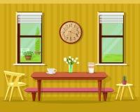 Gullig modern matsalinre: tabell med kaffekoppar och blommor, stolar, klocka och fönster Uppsättning för vektorkökmöblemang vektor illustrationer