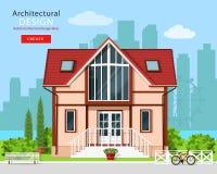 Gullig modern privat husfasaddesign med träd och stadshorisontbakgrund Stilfull detaljerad byggnadsyttersida stock illustrationer