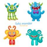Gullig monstervektoruppsättning Lucky Cartoon Mascot Illustration royaltyfri illustrationer