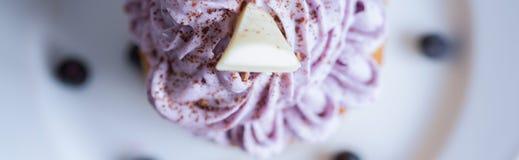 Gullig muffin med blåbärglasyr på kaka Fotografering för Bildbyråer