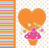 Gullig muffinbakgrund Arkivfoton