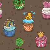 Gullig muffinmodell stock illustrationer