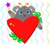 Gullig mus med att älska hjärta Royaltyfri Fotografi