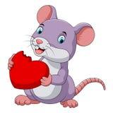Gullig mus som äter den röda hatten vektor illustrationer