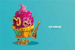 Gullig musiker för jordgubbeglasstecken med en elektrisk gitarr för kaka stock illustrationer