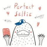 Gullig näbbdjur med en smart telefon royaltyfri illustrationer