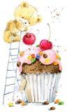 gullig nalle för björn Bakgrund för hälsningskort Vattenfärgbjörnillustration stock illustrationer