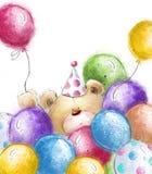 Gullig nallebjörn med de färgrika ballongerna Bakgrund med björnen och ballonger Arkivbild