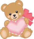 Gullig nallebjörn med hjärta Arkivfoton