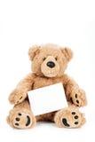 Gullig nallebjörn som rymmer det tomma brädet Royaltyfria Foton