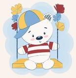 Gullig nallebjörn som sitter på en gunga som omges av blommor Vektorillustrationen, barns tryckkort, kan användas för t-skjorta p vektor illustrationer