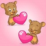 Gullig nallebjörn som rymmer röd hjärta Vektorillustration för St-valentin dag Björnsinnesrörelseuppsättning Arkivbild