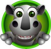 Gullig noshörninghuvudtecknad film Royaltyfri Illustrationer