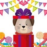 Gullig och liten vovve med gåvor och godisar royaltyfri illustrationer