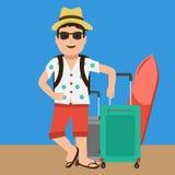 Gullig och lycklig stilig turist- maskot Plan färgdesign Arkivbild