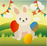 Gullig och rolig östlig kanin för små ungar och hälsningkort royaltyfri illustrationer