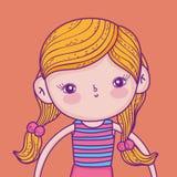 Gullig och rolig flicka med den bärande baddräkten för frisyr vektor illustrationer