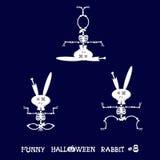 Gullig och rolig skelett- kanin i olikt poserar: aktivitet dans, yoga som är gymnastisk Tecknad filmstil också vektor för coreldr Royaltyfria Foton