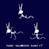 Gullig och rolig skelett- kanin i olikt poserar: aktivitet dans, yoga som är gymnastisk Tecknad filmstil också vektor för coreldr Arkivbild